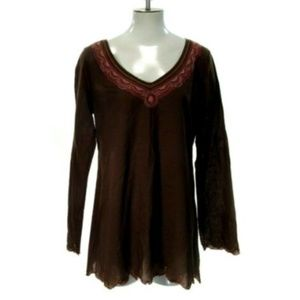 Lucky Brand Women's Sz M Medium Boho Peasant Blous